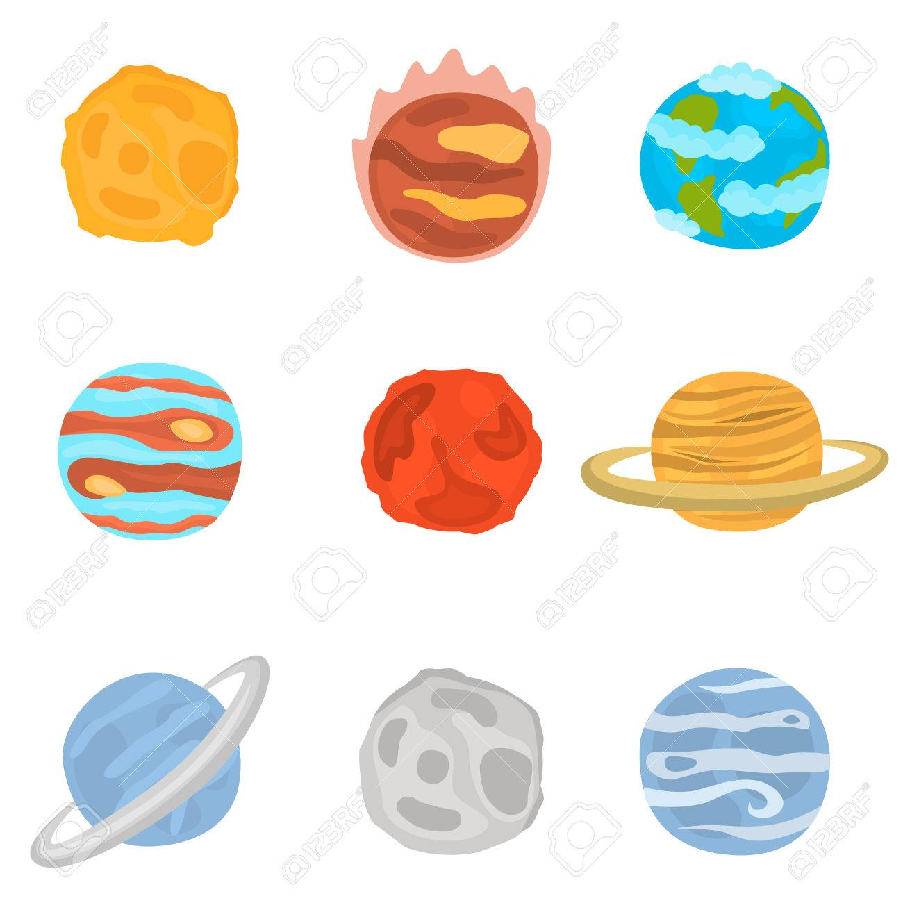 Planets Of Solar System Color Icons Set Stock Vector