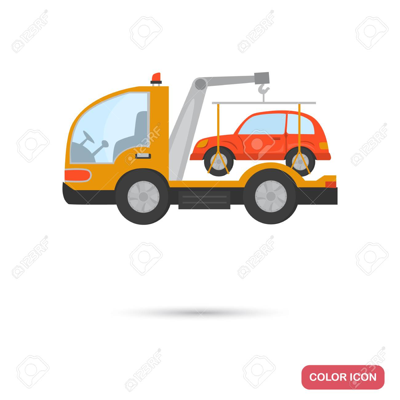 Evacuator With A Car Color Flat Icon Stock Vector