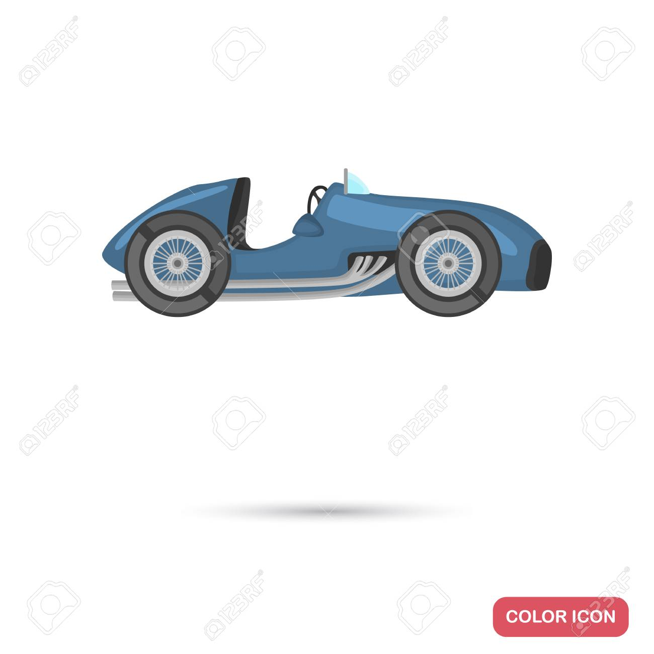 Retro Racing Car Color Flat Icon Stock Vector