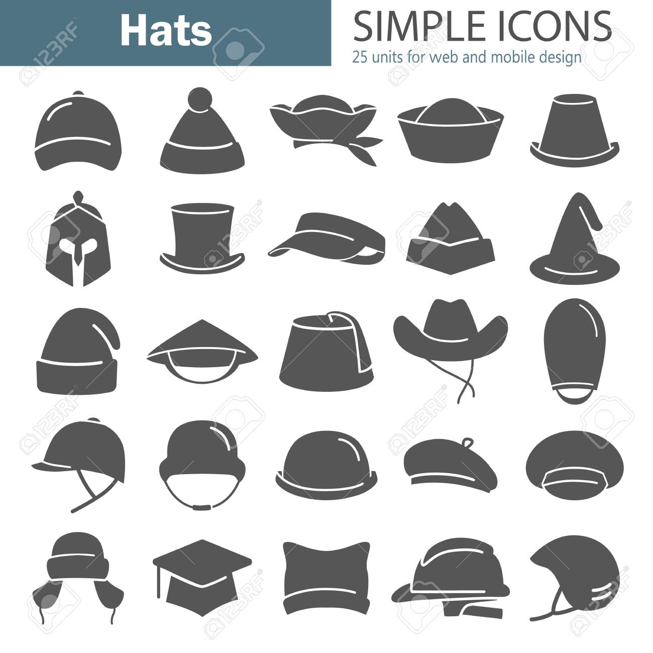 92c28504fcfa3 Different hats simple icon set isolated on plain background. Stock Vector -  96638667