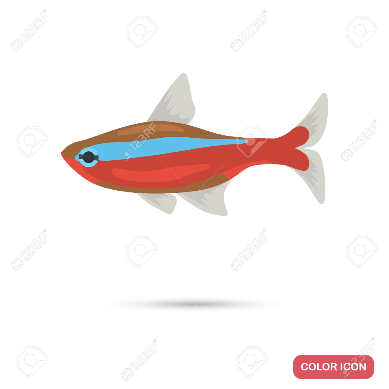 Neon Aquarium Fish Color Flat Icon Royalty Free Cliparts, Vectors ...