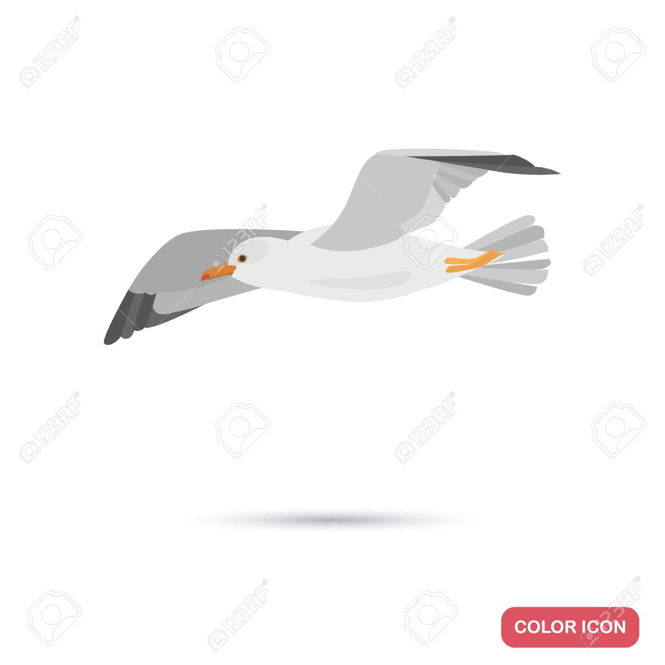 Flying seagull color flat icon - 114863519