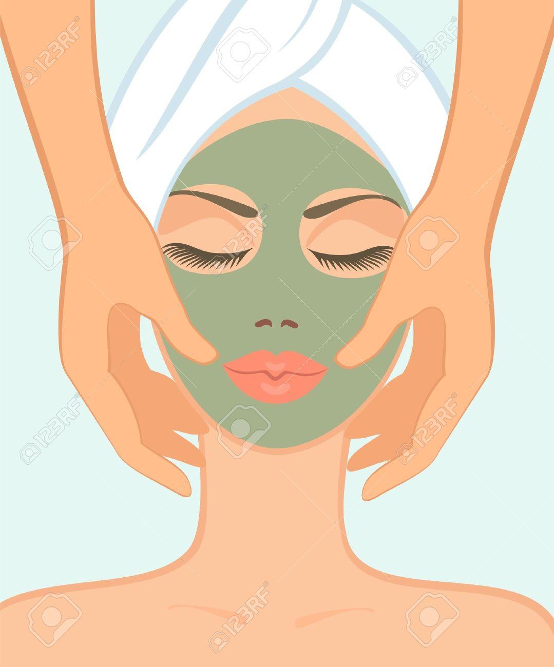 Chica En Salón Spa Toma Un Masaje Facial Ilustraciones Vectoriales ...
