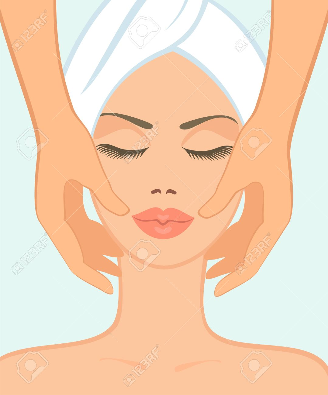 girl in spa salon takes a facial massage Stock Vector - 9457064
