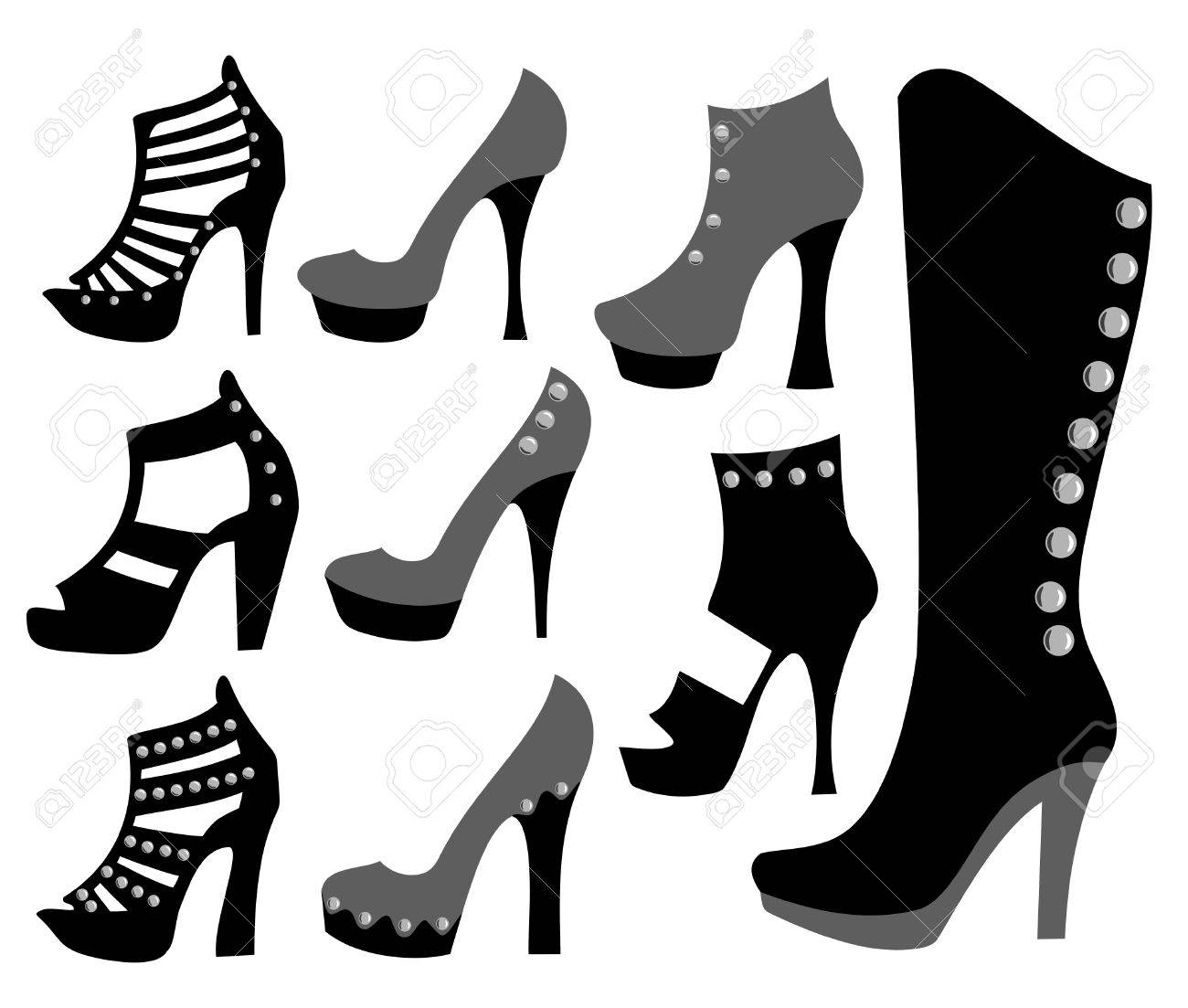 Boots fashion pic boots clip art - Fashionable Ladies Shoes In Black Stock Vector 9560961