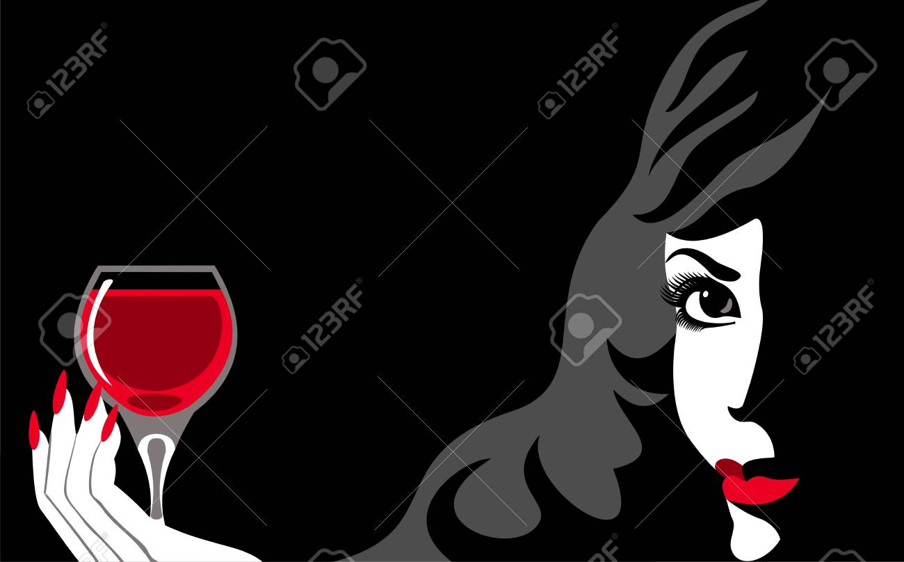 woman with wine Stock Vector - 9618251
