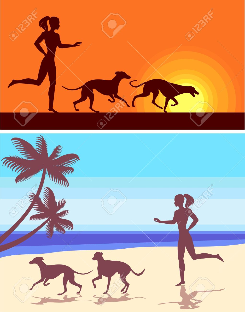 silhouettes of greyhounds  and girl Stock Vector - 9658190