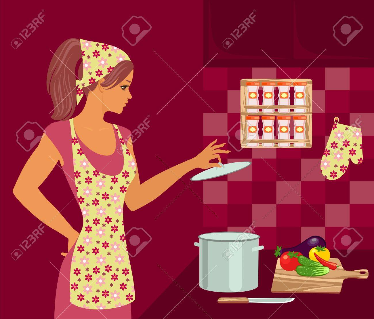 housewife in the kitchen Stock Vector - 9658194
