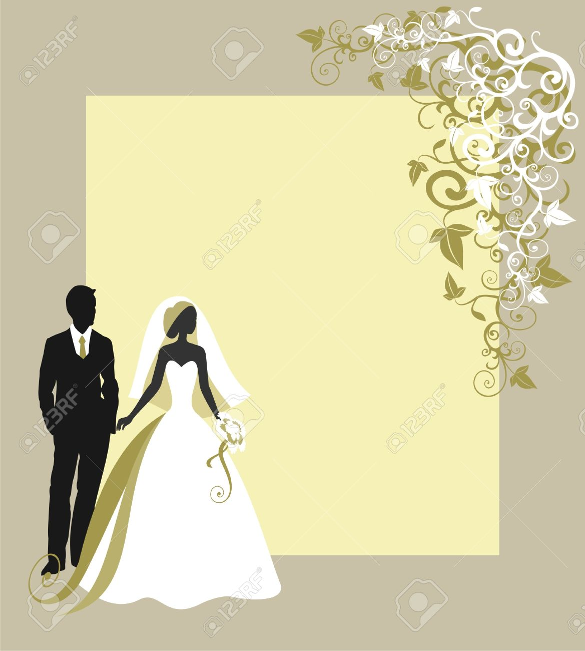 Invitation cards with the bride in a veil - 14977467