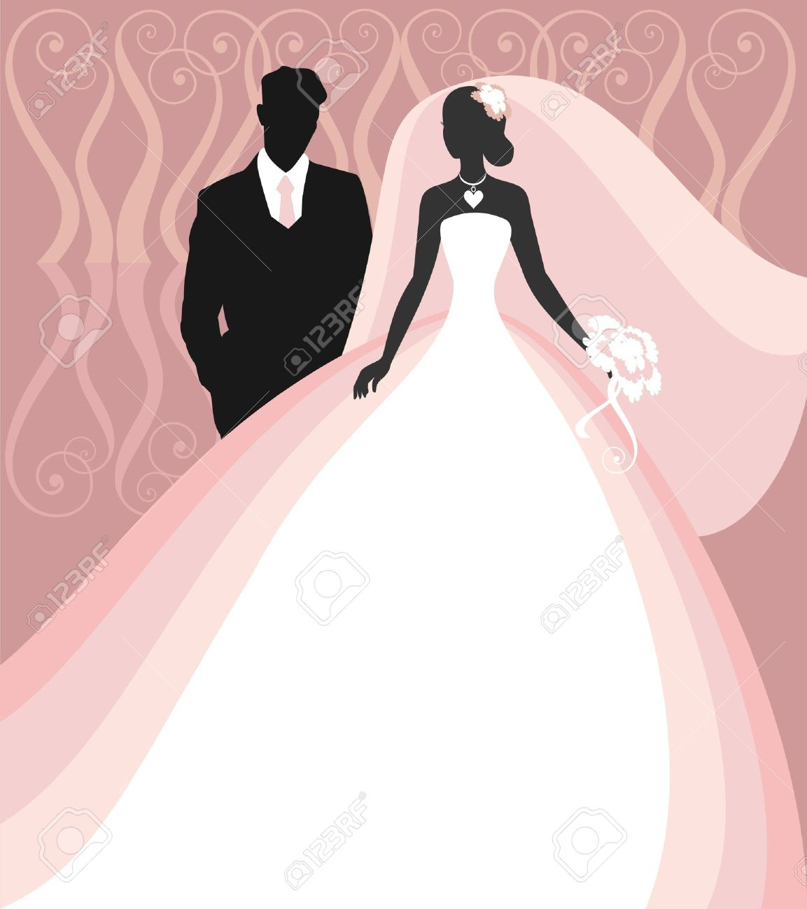 Invitation cards with the bride in a veil - 14977466