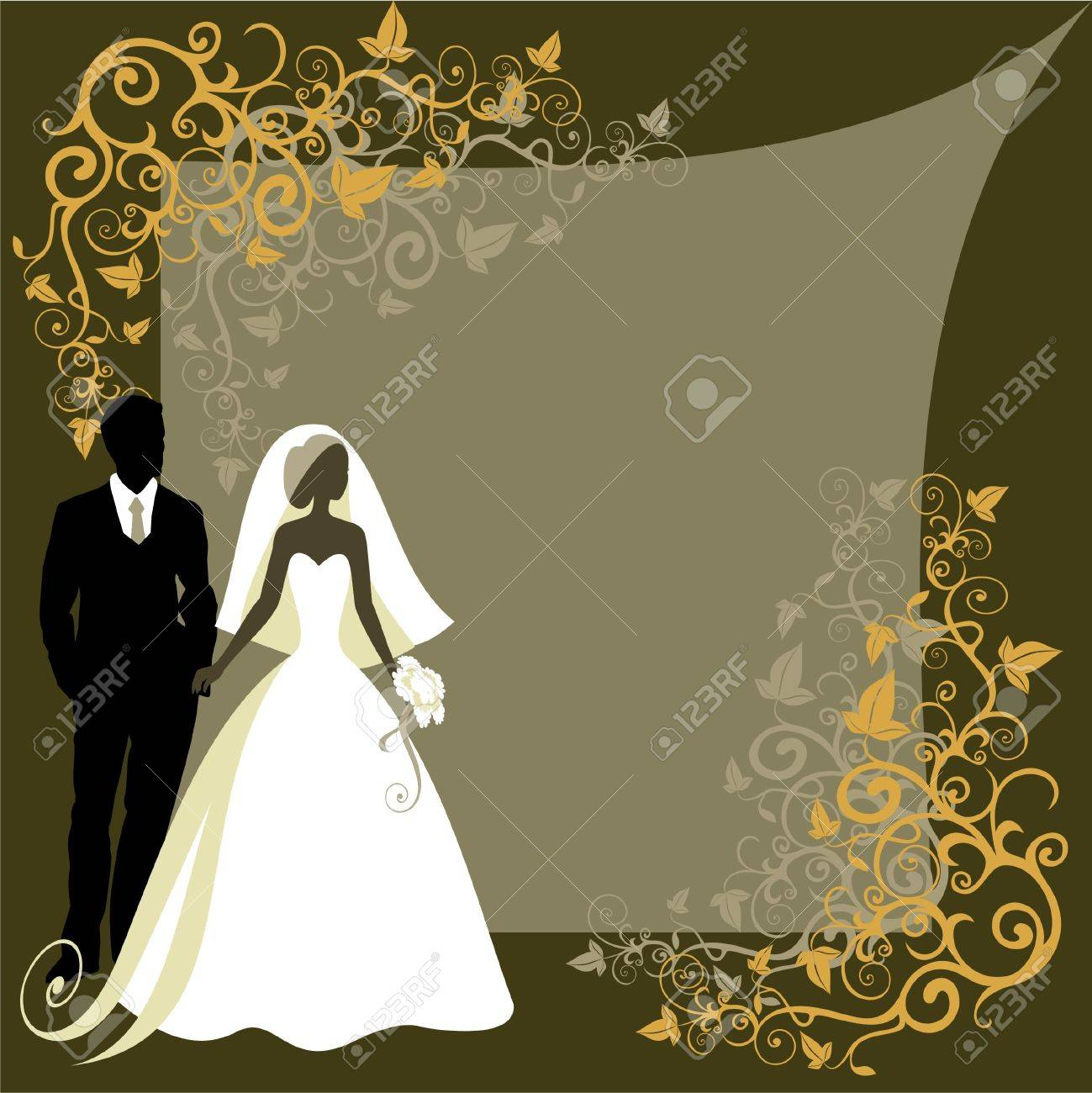 Invitation cards with the bride in a veil - 14977468