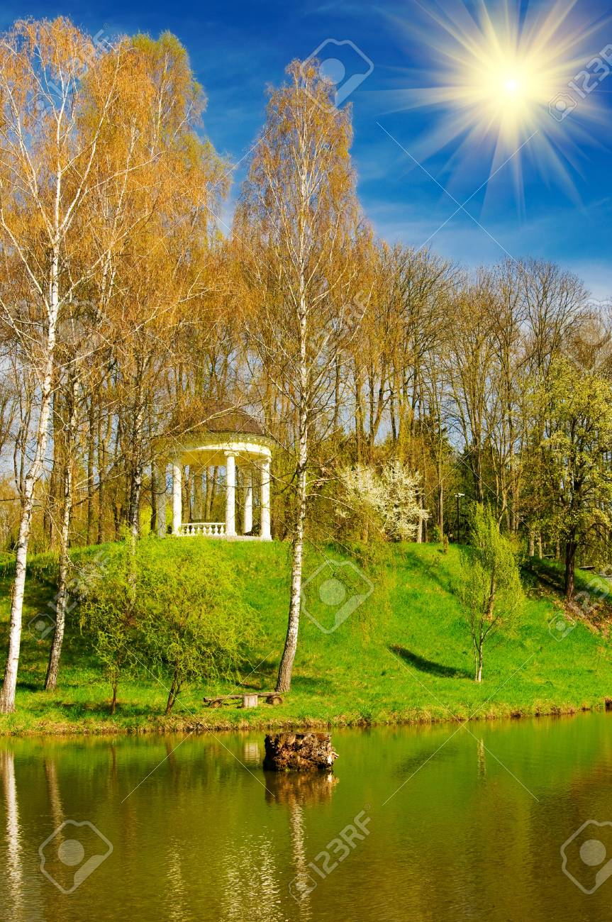 Beautiful sun above spring grove and pond by spring. Stock Photo - 6882165