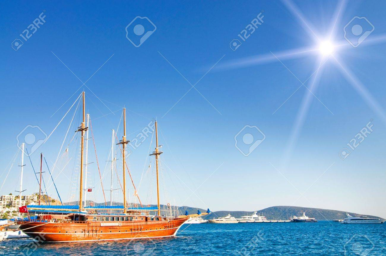 Wonderful yacht in blue bay near Bodrum town.  Turkey. Stock Photo - 10045238