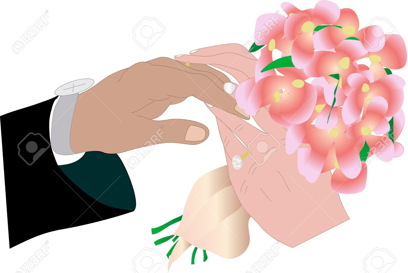 Vector Illustrarion Of Exchanging Wedding Rings Ceremony Royalty ...