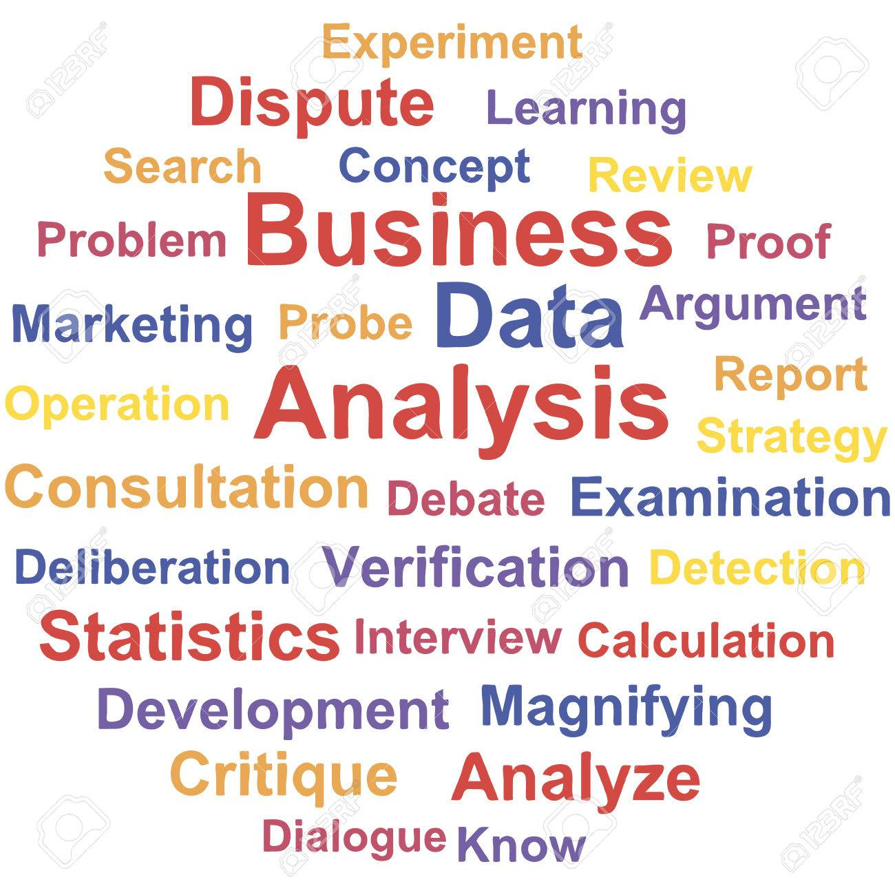 Business Data analysis. Word cloud concept. Vector illustration. Stock Vector - 29933736
