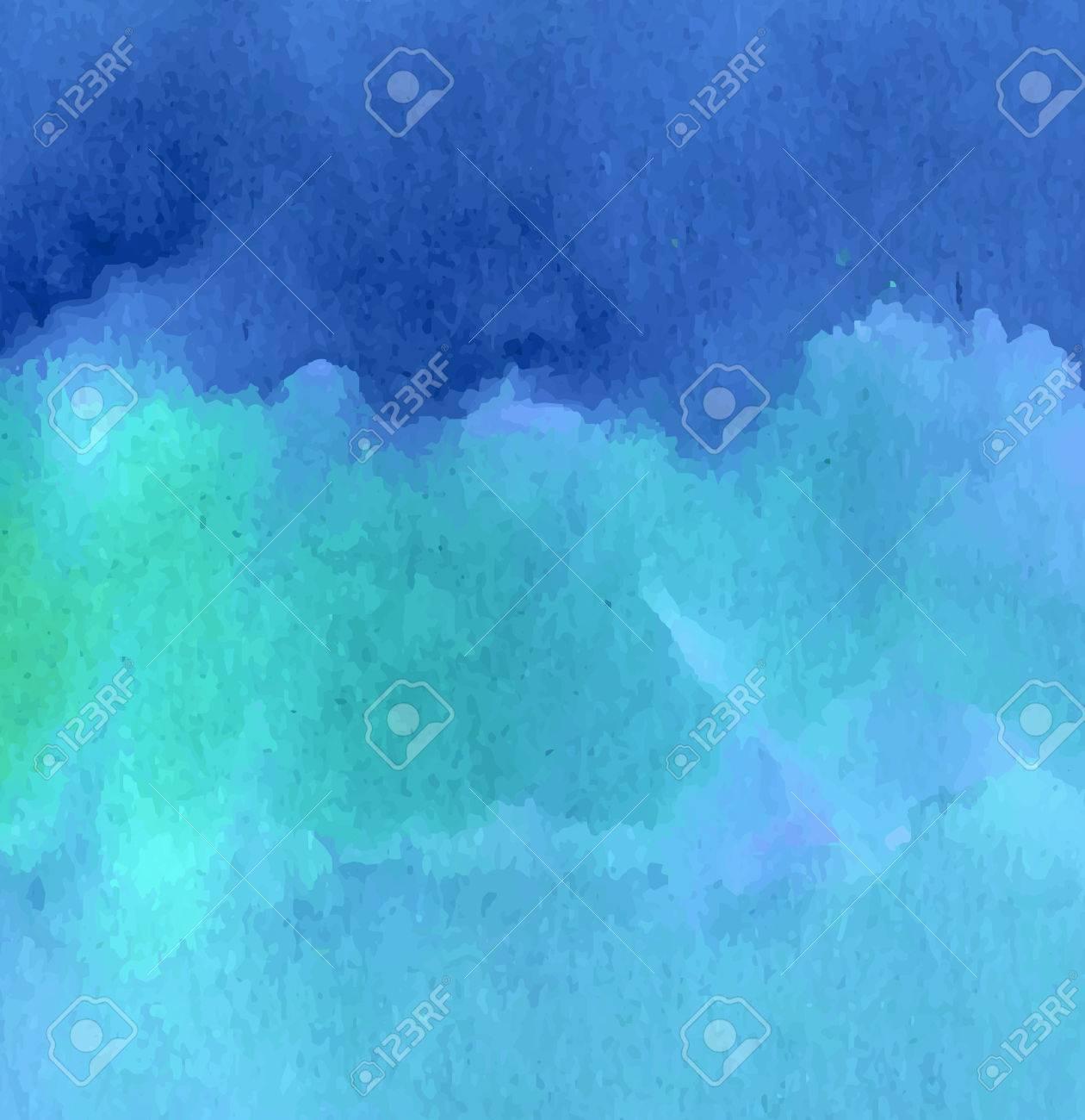 青と緑の海洋波水彩背景デザイン。ベクターのイラスト。 ロイヤリティ