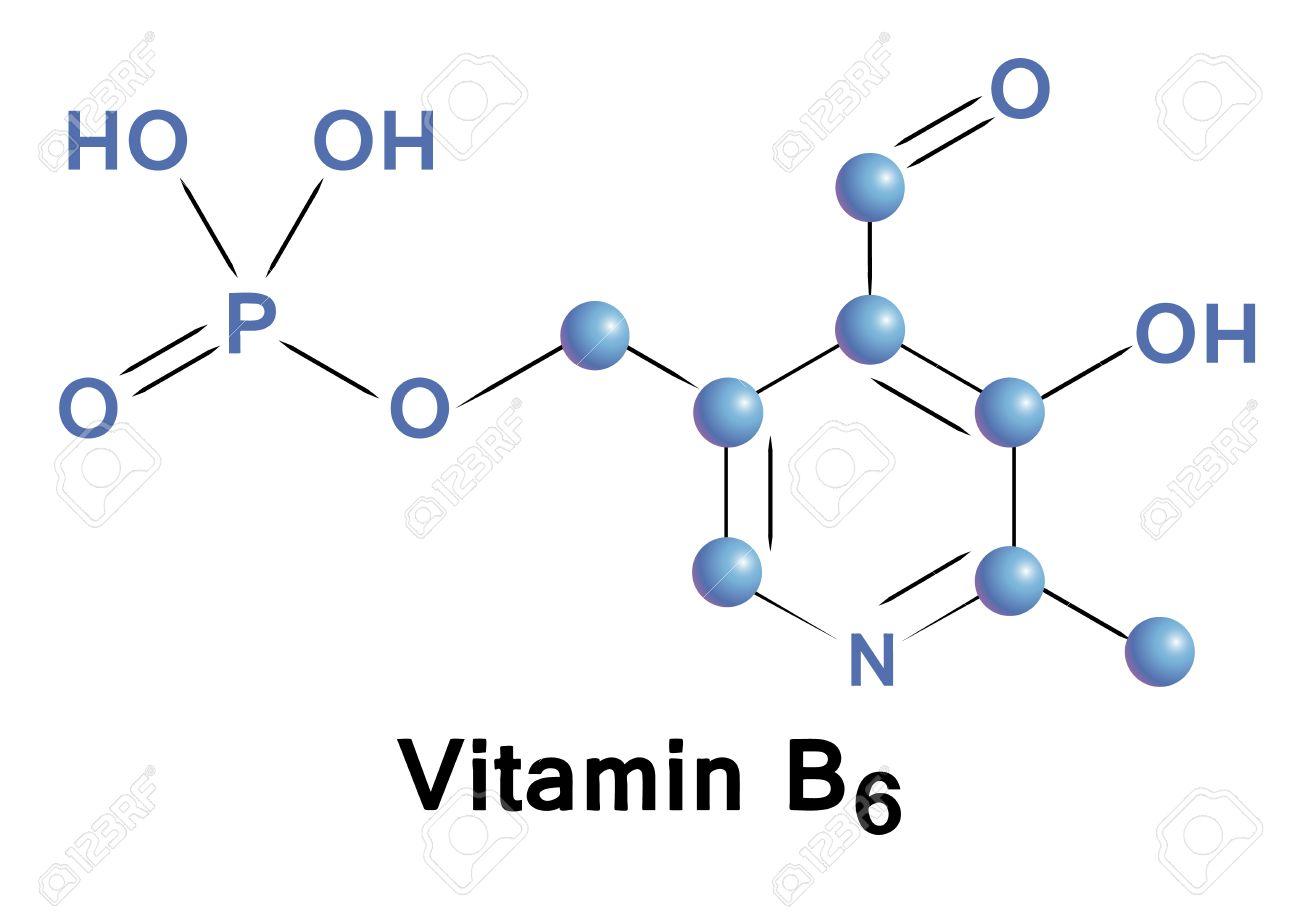 La Vitamina B6 Fórmula Química Estructura Molecular Ilustración Vectorial Médica