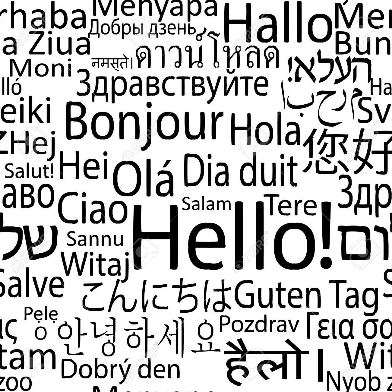 Hello In Different Languages Of The World, Seamlees Background ...