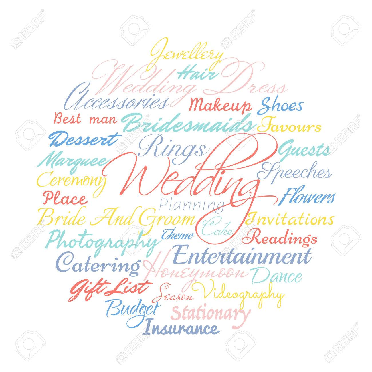 wedding planning related words vector cloud illustration royalty