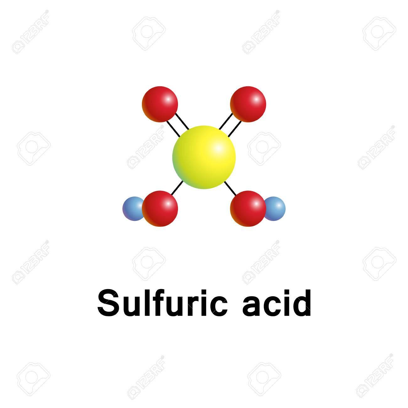 Cido Sulfúrico ácido Sulfúrico Es Un ácido Fuertemente Corrosivo ácido Mineral Con La Fórmula Molecular H2so4 Vector Estructura Molecular 3d