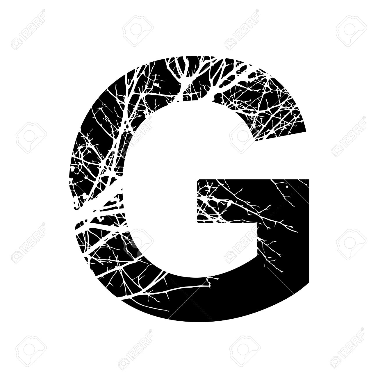 Letter G Double Exposure With White Tree On Black Background Vector