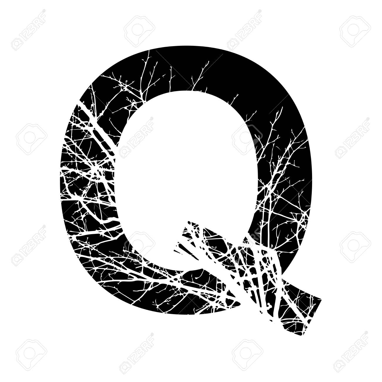 Letter Q Double Exposure With White Tree On Black Background Vector