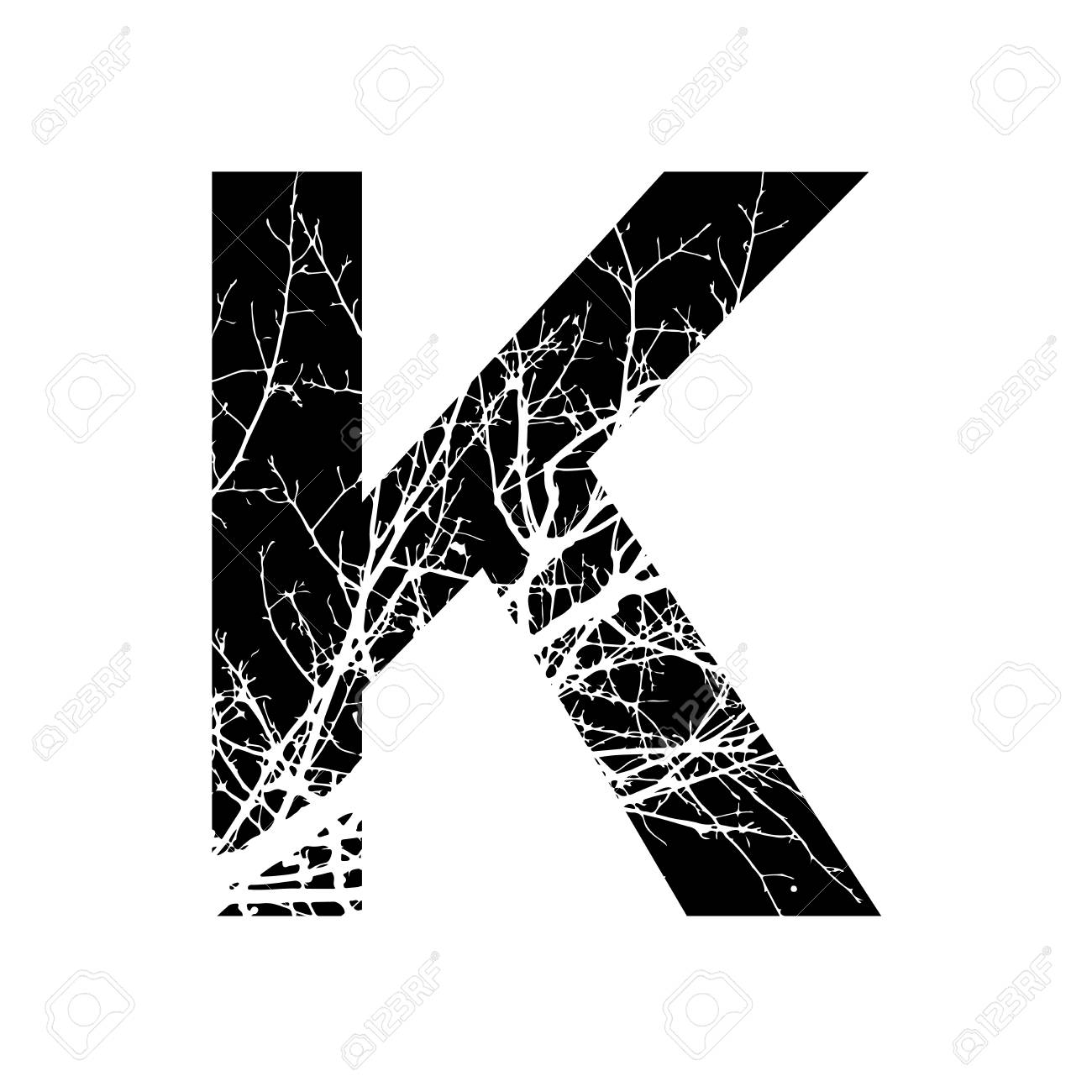 Letter K Double Exposure With White Tree On Black Background Vector