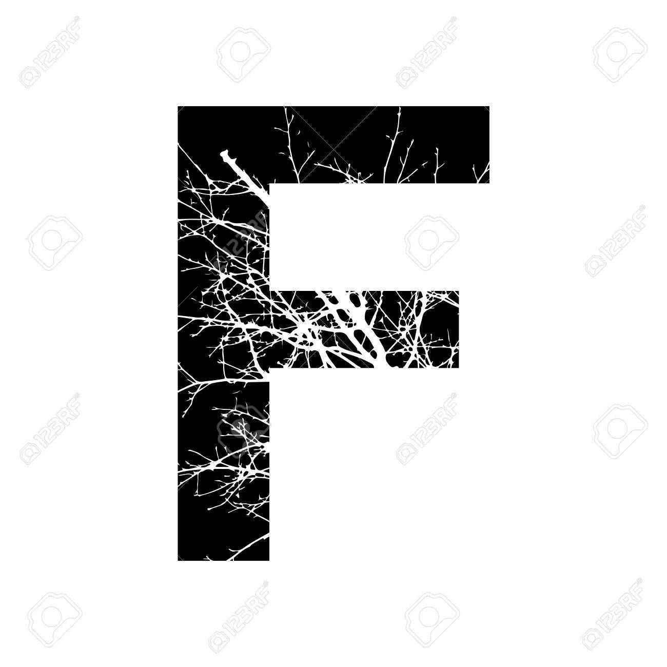 Letter F Double Exposure With White Tree On Black Background Vector