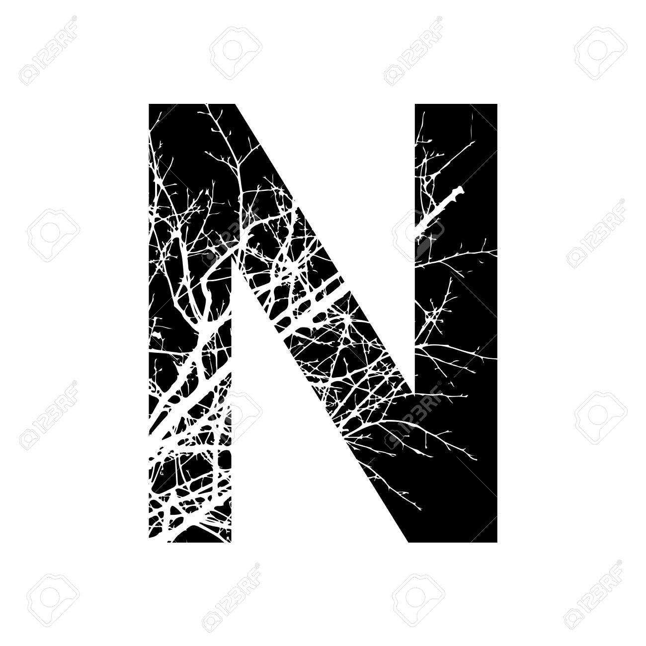 Letter N Double Exposure With White Tree On Black Background Vector