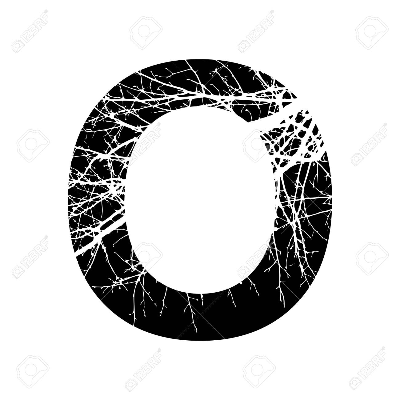 Letter O Double Exposure With White Tree On Black Background Vector