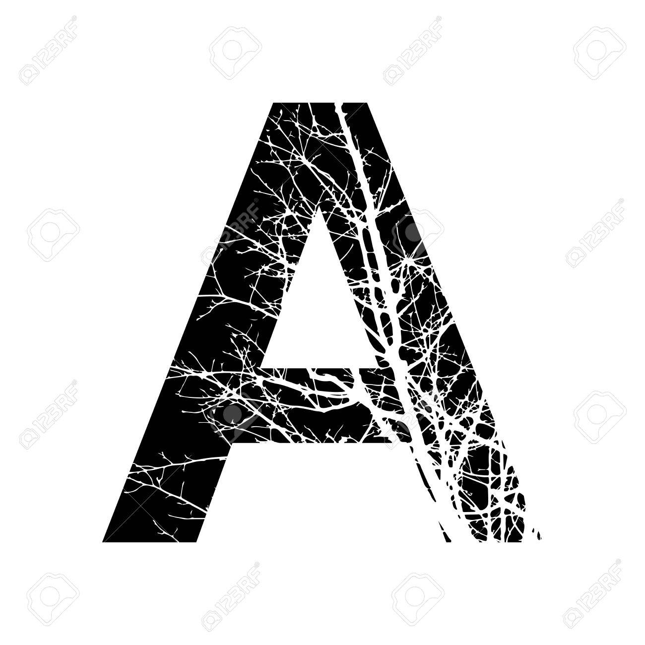Letter A Double Exposure With White Tree On Black Background Vector Royalty Free Cliparts Vectors And Stock Illustration Image 51073519