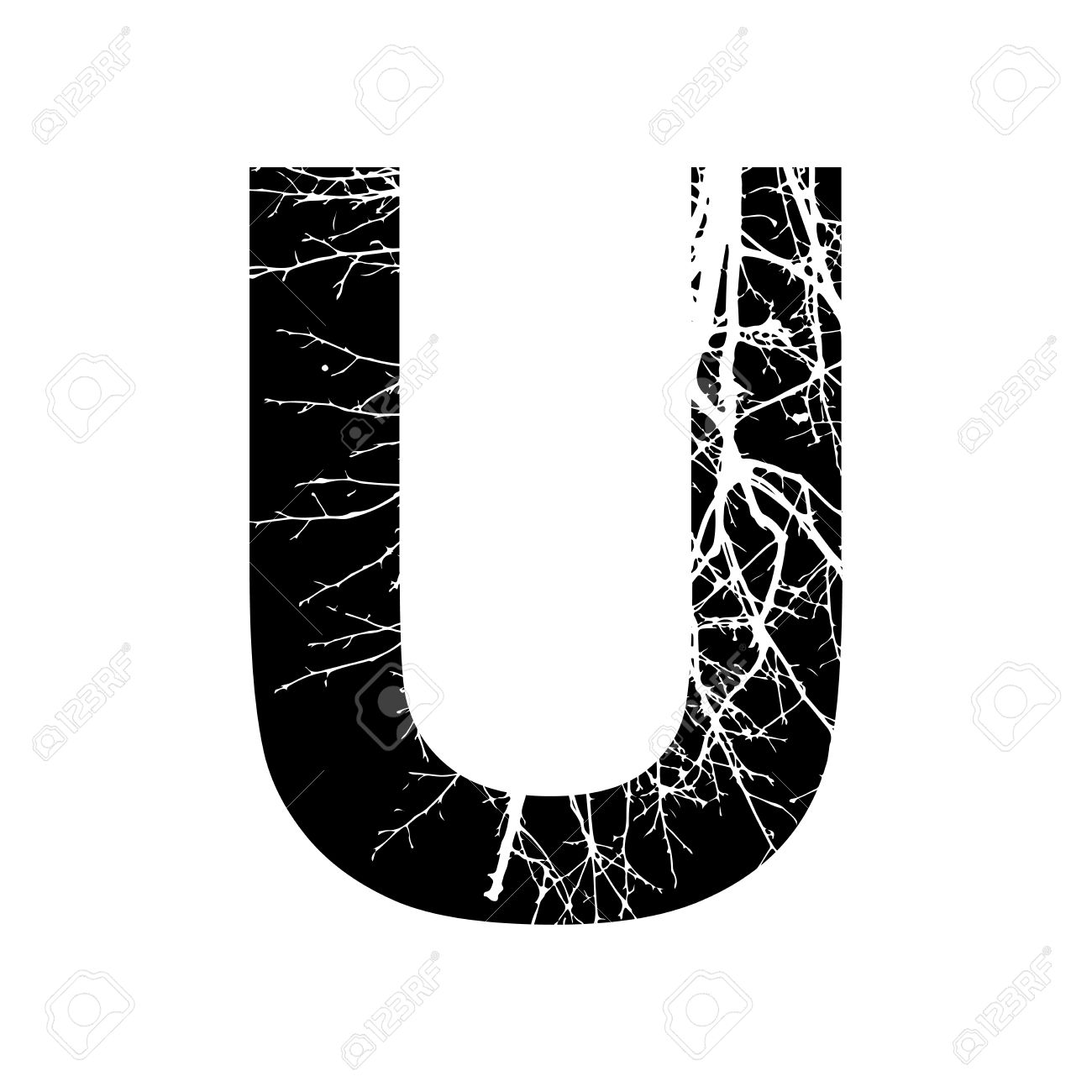 Letter U Double Exposure With White Tree On Black Background Vector