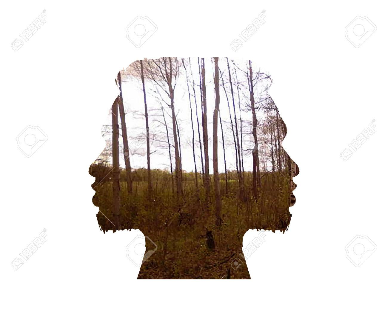 Vector double exposure illustration. Woman silhouette plus abstract nature background - 51073534