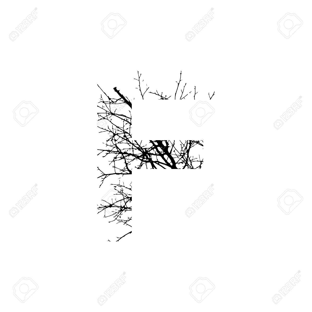 Letter F Double Exposure With Black Trees Isolated On White
