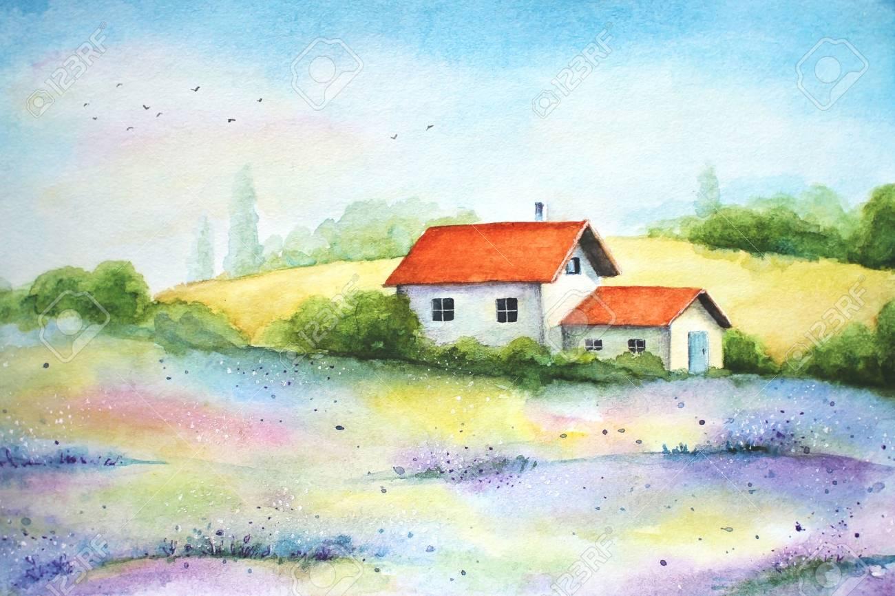 Aquarelle Peinture Vive De Campagne Paysage Rural Avec Des Champs De Ble Fleurs Sauvages Et Petite Maison Blanche Banque D Images Et Photos Libres De Droits Image 92847090