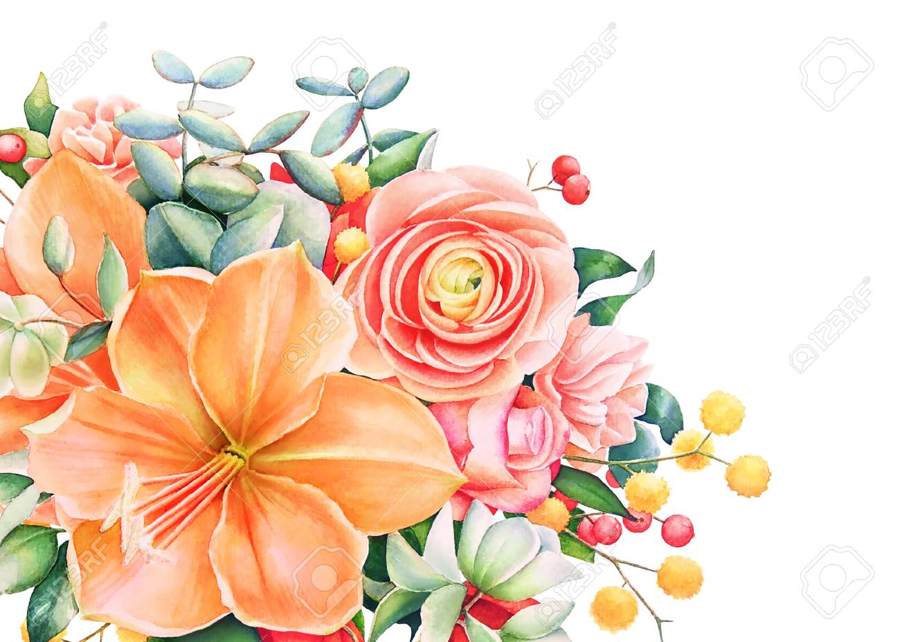 Beautiful Floral Design With Watercolor And Hand Drawn Bouquet