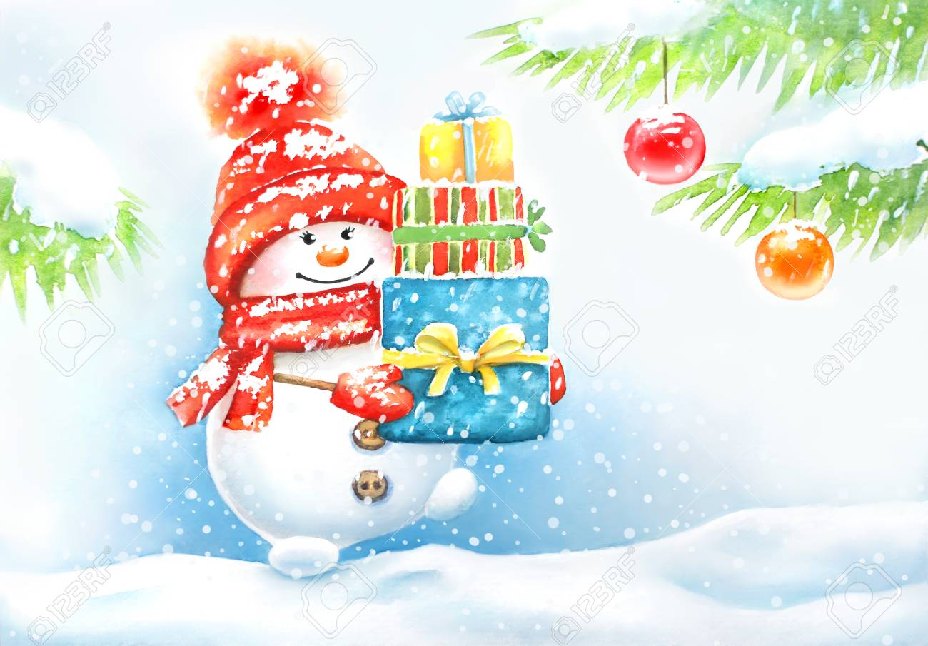 stock photo watercolor hand drawn new year card with a cute snowman in the cap and mittens carrying present boxes in the forest