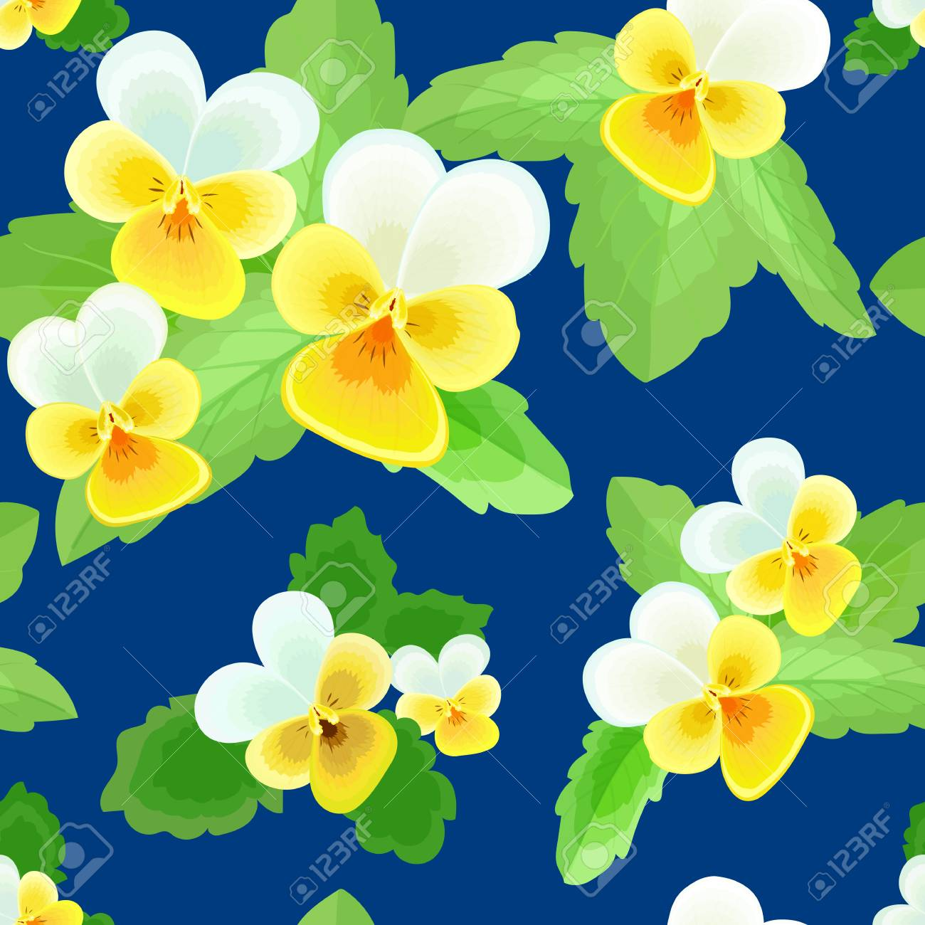16942e467 Summer seamless pattern with delicate yellow-white flowers on a dark blue  background.Cute