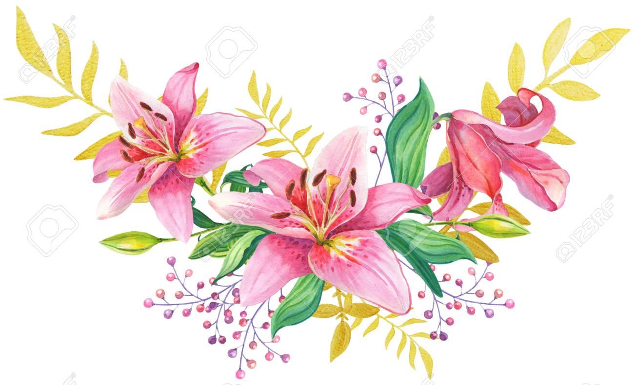 ピンクのユリ花のイラスト の写真素材画像素材 Image 91052817