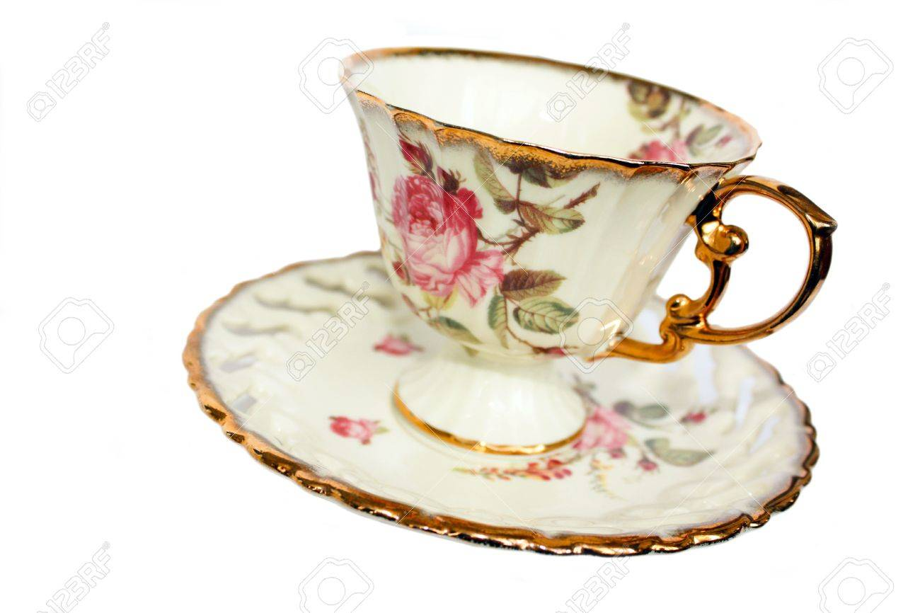 Porcelain Cup Porcelain Saucer Drawing On The Dishes A Rose Stock Photo Picture And Royalty Free Image Image 6756266