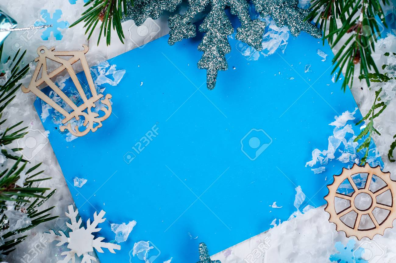 blue blank christmas card on the christmas tree with toy top view merry christmas - Blank Christmas Tree