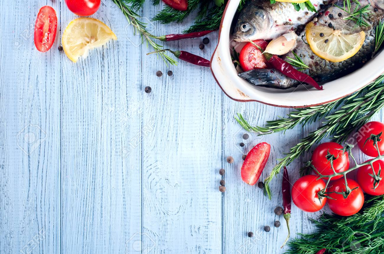 Food Background For Fish Dishes Cooking With Various Ingredients Stock Photo Picture And Royalty Free Image Image 68210661