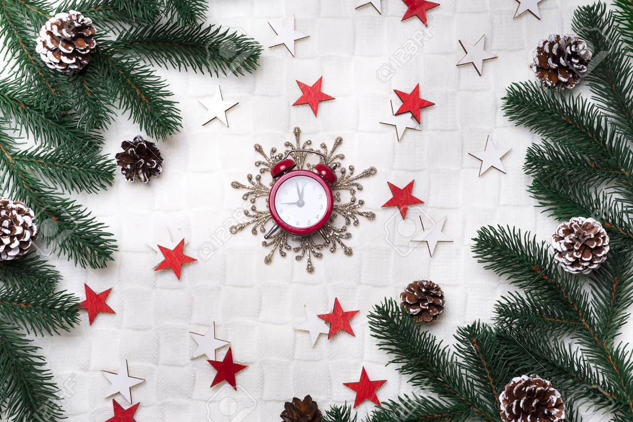 Christmas Background With Decorations New Year Gifts In