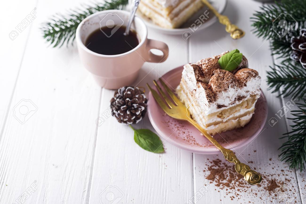 Traditional Italian Dessert Tiramisu On Plate With Christmas.. Stock on