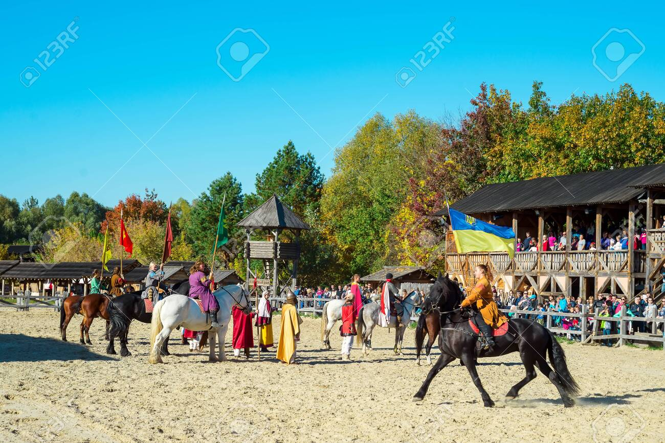 Kyiv Region Ua 13 10 2018 Human Riding A Horse With The Flag Stock Photo Picture And Royalty Free Image Image 138213286