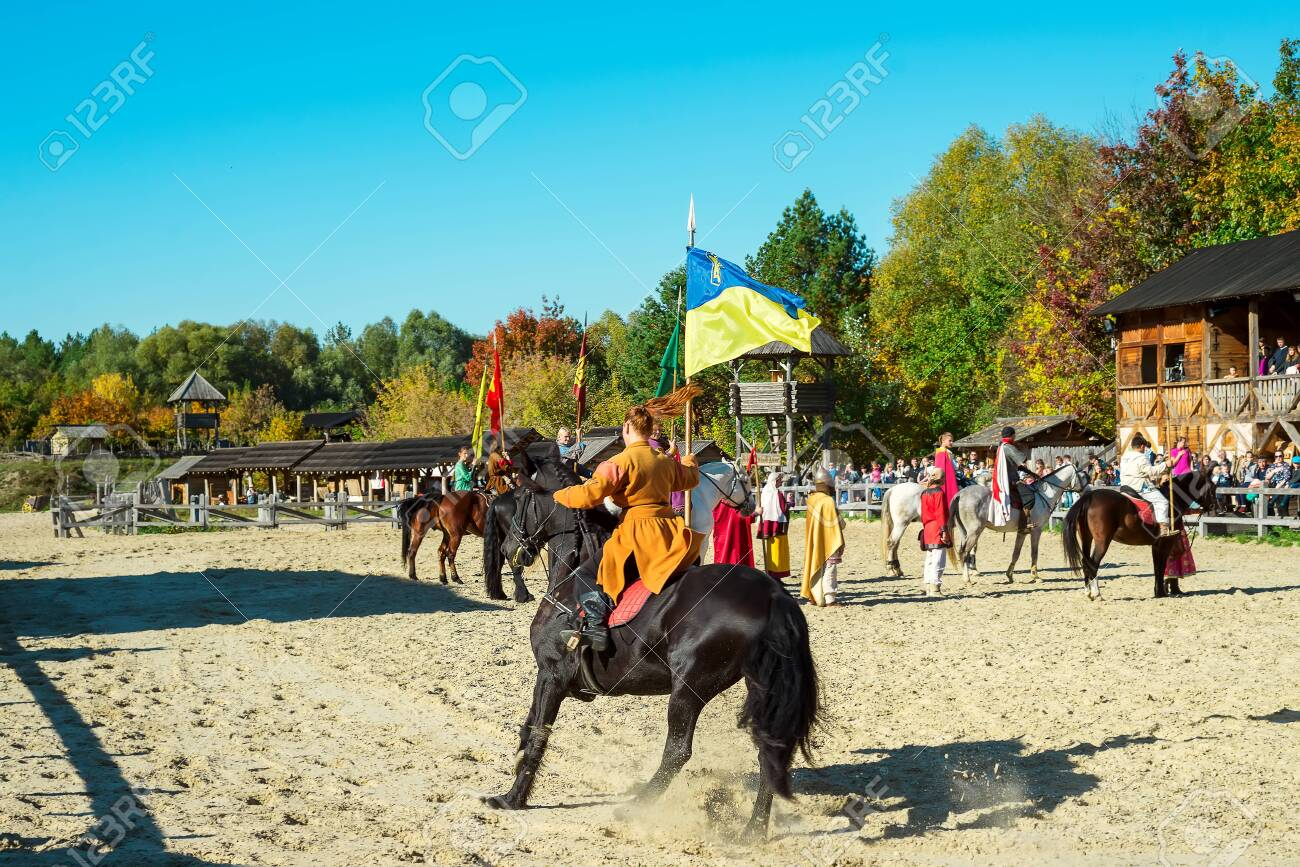 Kyiv Region Ua 13 10 2018 Human Riding A Horse With The Flag Stock Photo Picture And Royalty Free Image Image 138213291