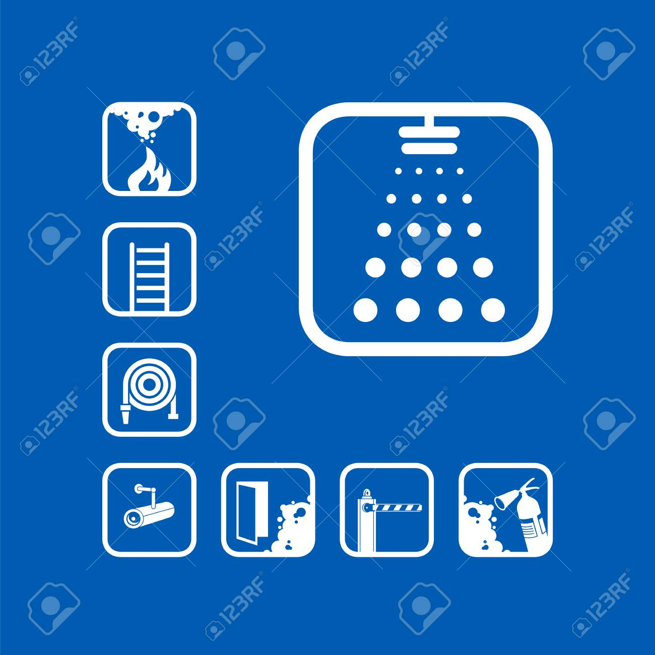 Fire Sprinkler System And Device Vector Icon Sets Design Exclusive Diagram Symbols Graphic Pictograms