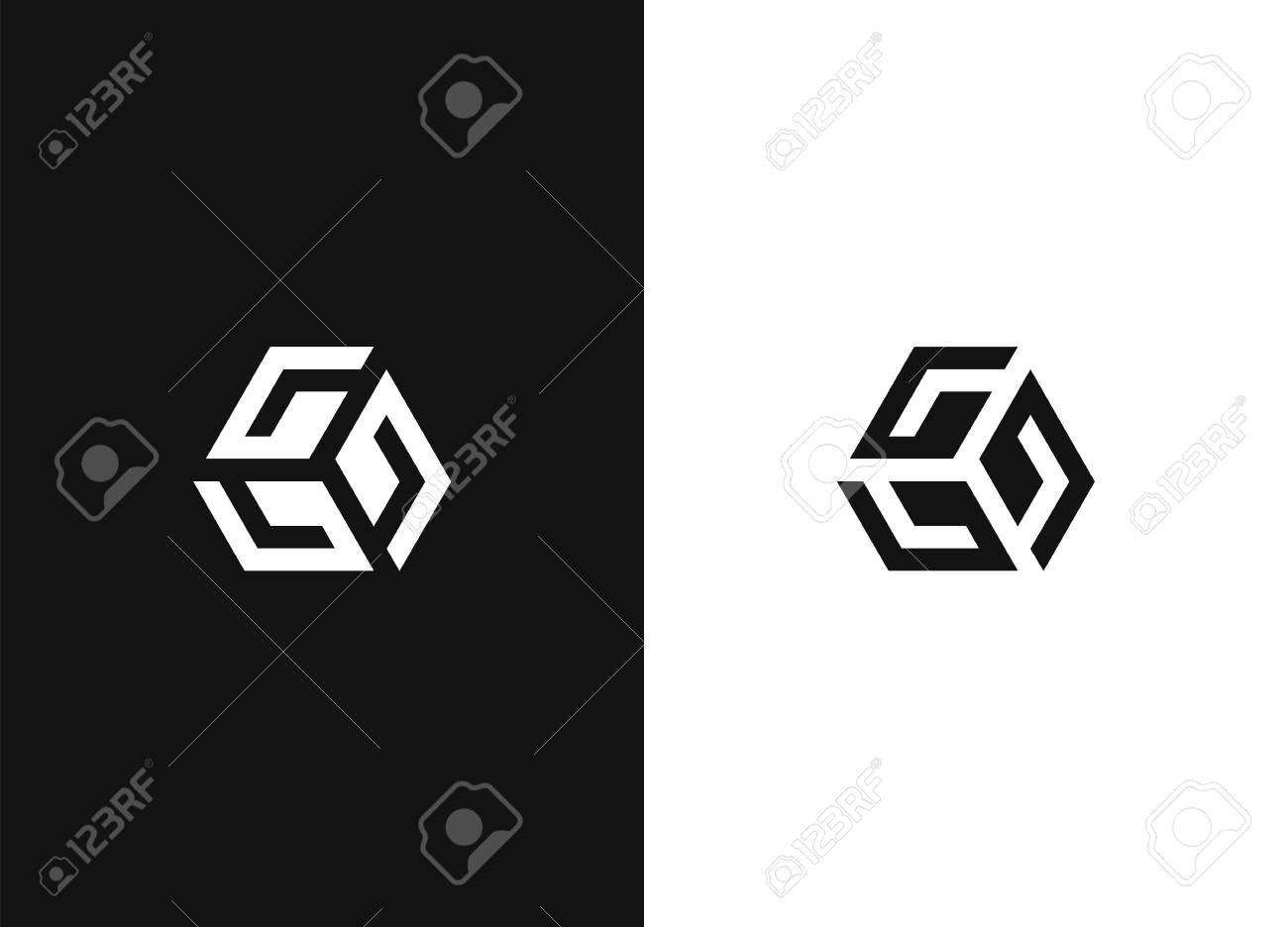 Vector black and white letter G diamond company logo template. Crystal icon, Fashion. Jewelry symbol. Best for identity and logotypes. - 109915551