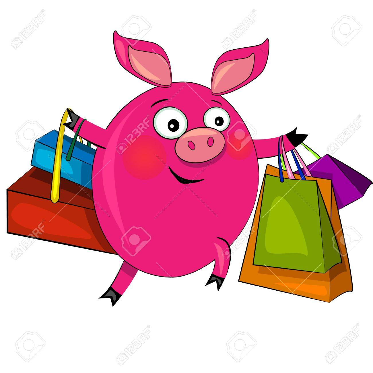 pig on fashion shopping. vector illustration.character isolated Stock Vector - 11411147