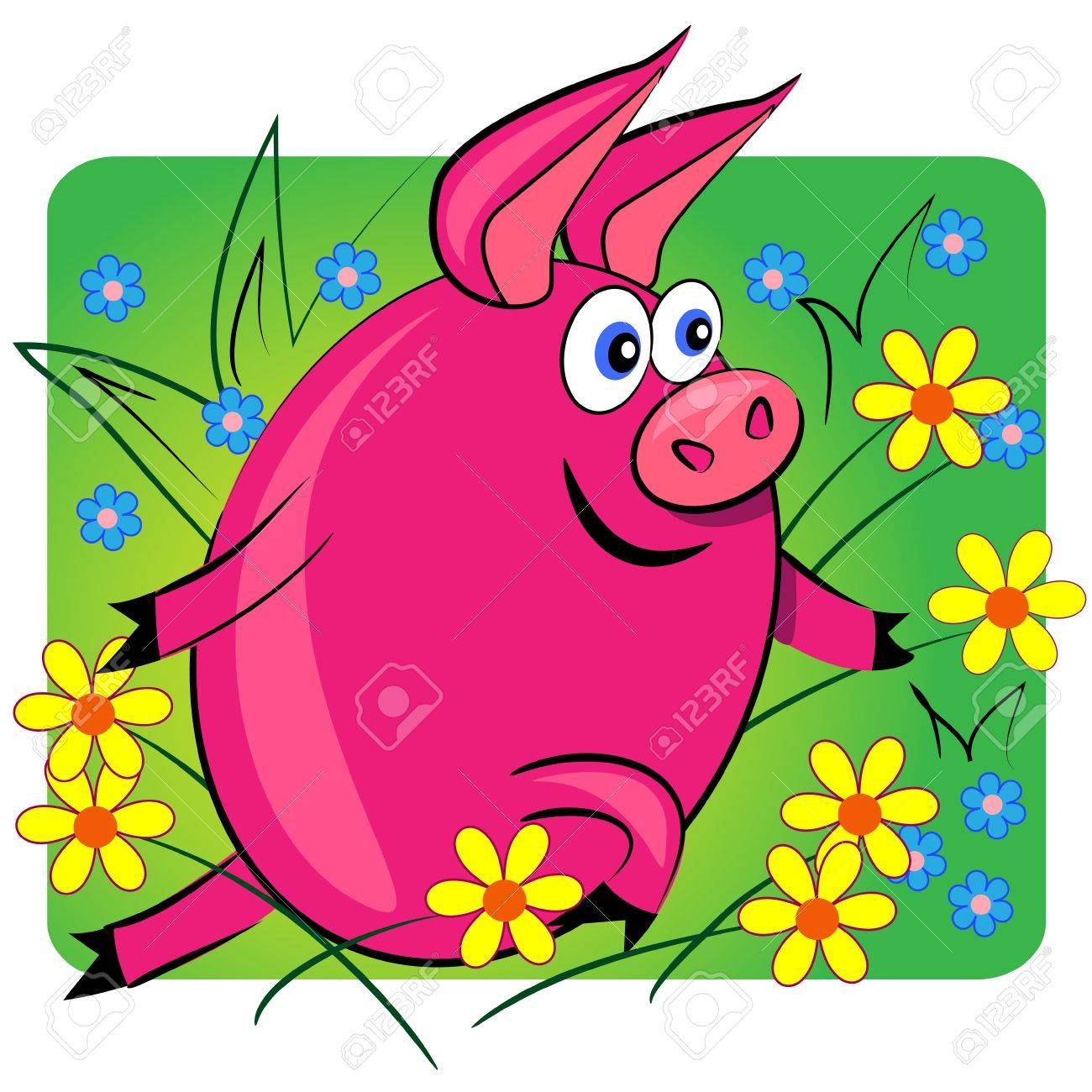 pig running on floral background.cartoon animal card.vector Stock Vector - 11411155